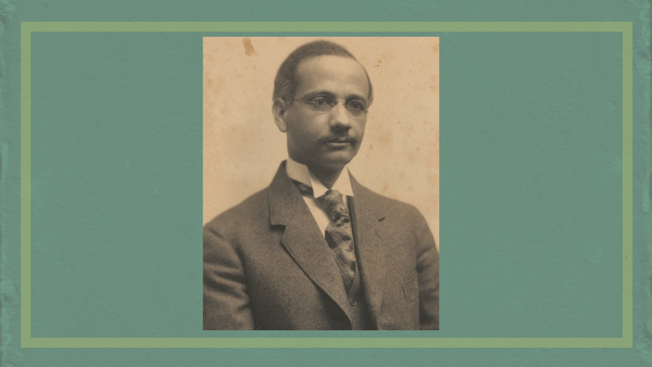 Dr. Solomon Carter Fuller on dark sea green background with a light green outline.