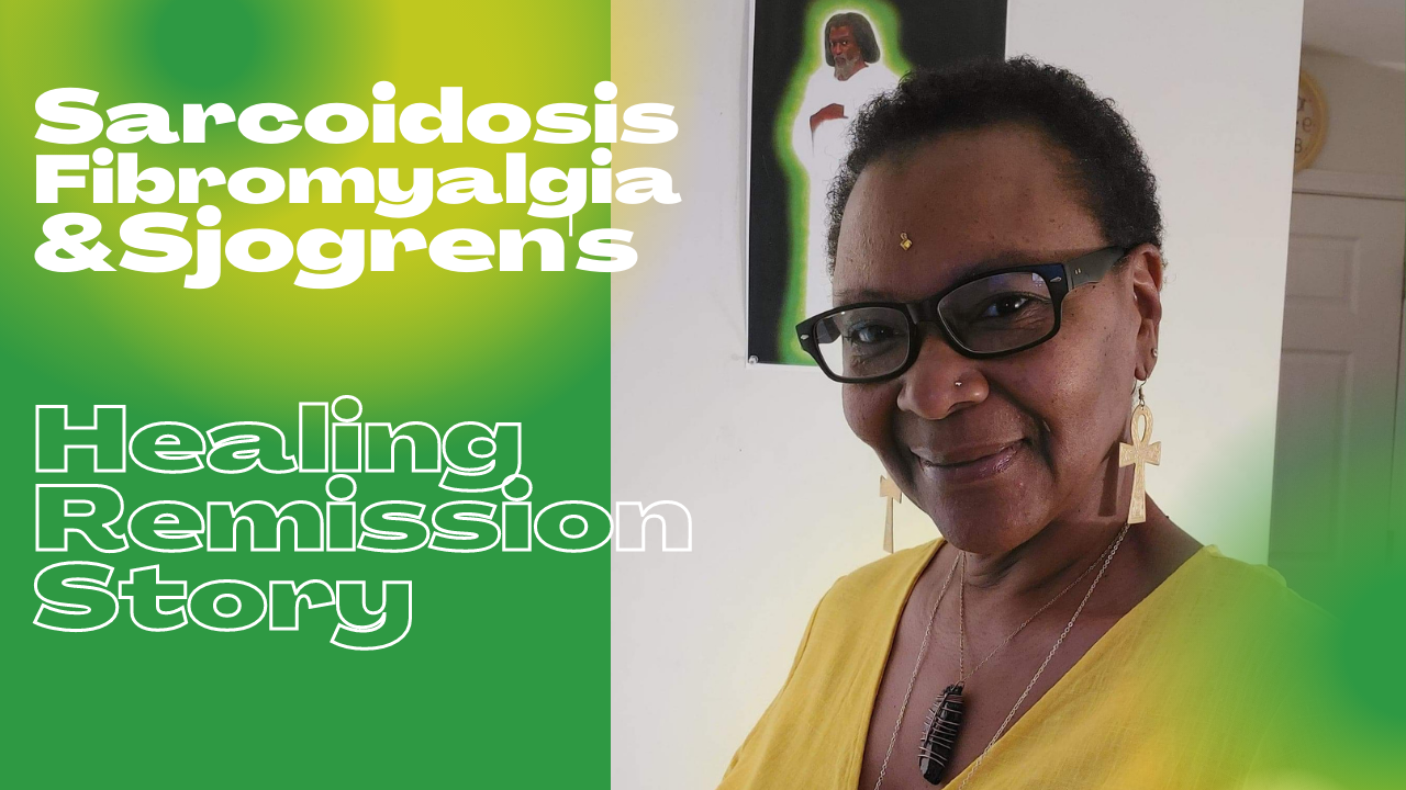 Image of Neffera Ba Aanaqtat Rayaytat with caption on a green and yellow aura background: Sarcoidosis, Fibromyalgia & Sjogren's: Healing Remission Story